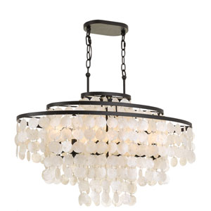 Capiz Shell 36-Inch Six-Light Bronze Linear Chandelier