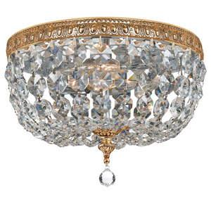Crystal 10-Inch Two-Light Brass Ceiling Mount
