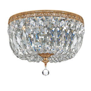 Crystal 12-Inch Three-Light Brass Ceiling Mount