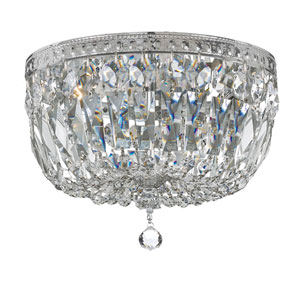 Crystal 12-Inch Three-Light Chrome Ceiling Mount