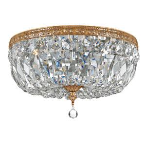 Crystal 14-Inch Three-Light Brass Ceiling Mount