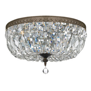 Crystal 14-Inch Three-Light Bronze Ceiling Mount