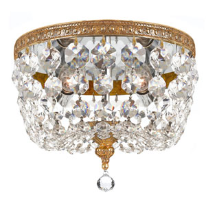 Crystal 8-Inch Two-Light Brass Ceiling Mount