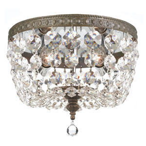 Crystal 8-Inch Two-Light Bronze Ceiling Mount
