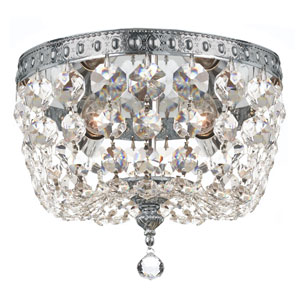 Crystal 8-Inch Two-Light Chrome Ceiling Mount