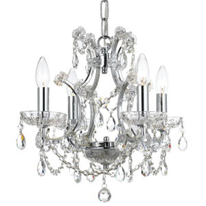 Crystal 17-Inch Four-Light Bronze Mini Chandelier
