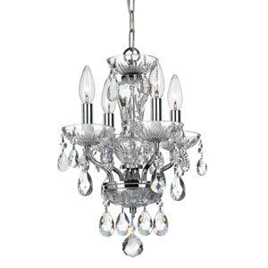 Crystal 11-Inch Four-Light Chrome Mini Chandelier