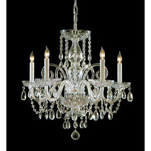 Traditional Polished Brass Five-Light Clear Hand Cut Crystal Chandelier
