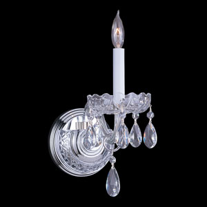 Traditional Crystal Polished Chrome One-Light Crystal Sconce