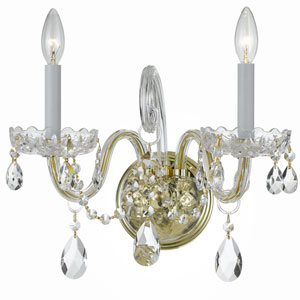 Traditional Polished Brass Two Light Wall Sconce with Hand Cut Crystal Crystal