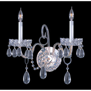 Traditional Crystal Polished Chrome Two-Light Wall Sconce with Swarovski Strass Crystals