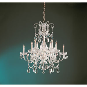 Traditional Polished Brass Six-Light Chandelier with Hand Cut Clear Crystals