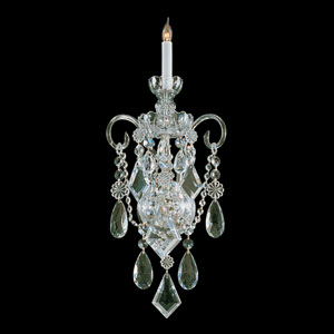 Traditional Polished Brass Wall Sconce with Clear Hand Cut Crystal