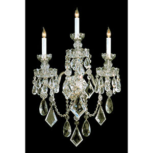 Traditional Polished Brass Three-Light Wall Sconce with Clear Hand Cut Crystal