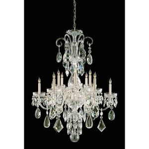 Traditional Polished Brass Six-Light Clear Hand Cut Crystal Chandelier