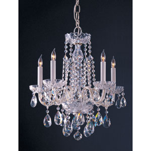 Traditional Crystal Polished Chrome Five-Light Crystal Chandelier