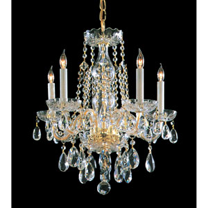 Traditional Crystal Polished Brass Five-Light Crystal Chandelier