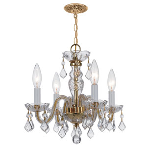 Traditional Polished Brass Four-Light Chandelier with Swarovski Strass Crystals