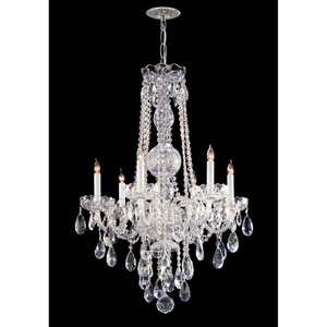 Traditional Crystal Polished Chrome Six-Light Chandelier with Hand Polished Crystal
