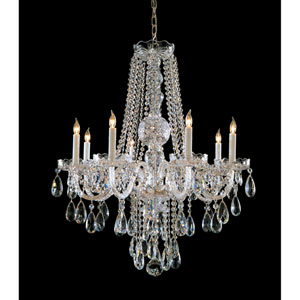 Traditional Crystal Polished Chrome Eight-Light Crystal Chandelier