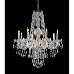 Traditional Crystal Polished Brass Eight-Light Crystal Chandelier