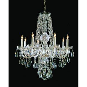 Traditional Crystal Swarovski Strass Crystal Polished Brass Eight-Light Chandelier
