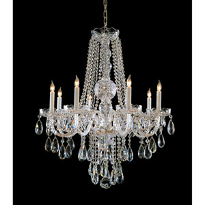 Traditional Crystal Swarovski Spectra Crystal Polished Brass Eight-Light Chandelier