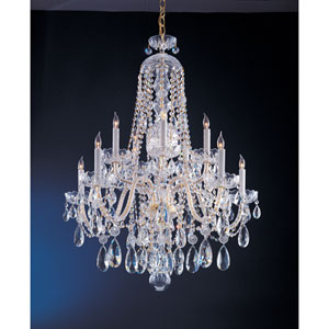 Traditional Crystal Swarovski Strass Crystal Polished Brass Seven-Light Chandelier