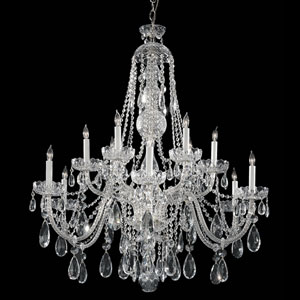 Traditional Crystal Chrome Twelve-Light Clear Spectra Crystal Chandelier