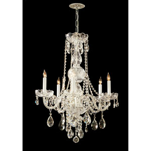 Traditional Polished Brass Five-Light Hand Cut Crystal Chandelier