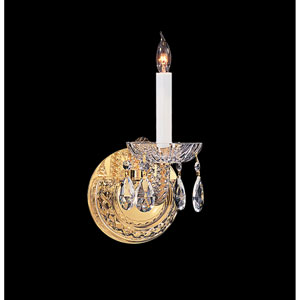 Traditional Crystal Swarovski Strass Crystal Polished Brass One-Light Sconce