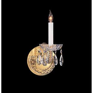Traditional Crystal Swarovski Spectra Crystal Polished Brass One-Light Sconce