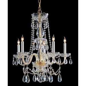 Traditional Polished Brass Five-Light Swarovski Spectra Crystal Chandelier