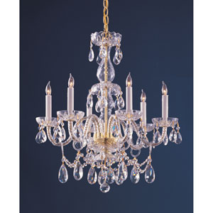 Traditional Polished Brass Six-Light Hand Cut Crystal Chandelier