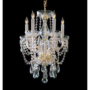 Traditional Crystal Polished Brass Five-Light Crystal Chandelier