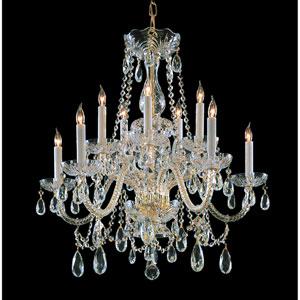 Traditional Crystal Swarovski Spectra Crystal Polished Brass Ten-Light Chandelier