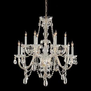 Traditional Polished Brass Twelve-Light Swarovski Spectra Crystal Chandelier