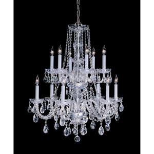 Traditional Crystal Swarovski Spectra Crystal Polished Brass Twelve-Light Chandelier
