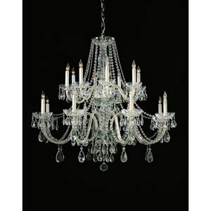 Traditional Crystal Polished Chrome Sixteen-Light Crystal Chandelier