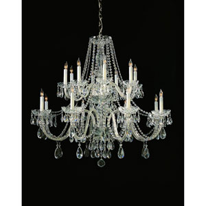 Traditional Crystal Swarovski Spectra Crystal Polished Chrome Sixteen-Light Chandelier