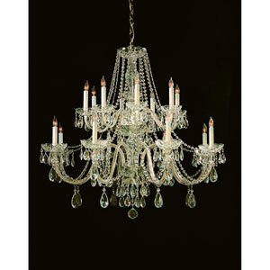Traditional Polished Brass Eight-Light Hand Cut Crystal Chandelier