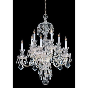 Traditional Crystal Polished Brass Ten-Light Crystal Chandelier