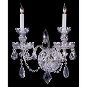 Traditional Crystal Swarovski Strass Crystal Polished Chrome Two-Light Sconce