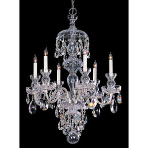 Traditional Crystal Polished Chrome Six-Light Crystal Chandelier