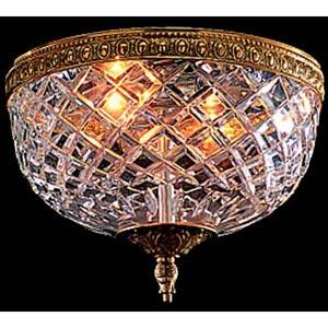 Olde Brass Crystal Flush Ceiling Light