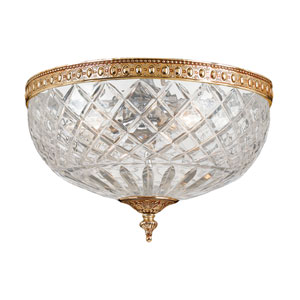 Cortland Olde Brass Three-Light Flush Mount