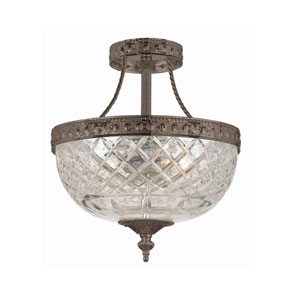 Bohemain Crystal English Bronze Three-Light Semi-Flush
