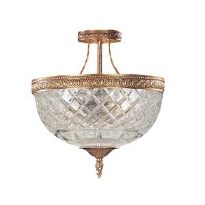 Bohemain Crystal Olde Brass Three-Light Semi-Flush