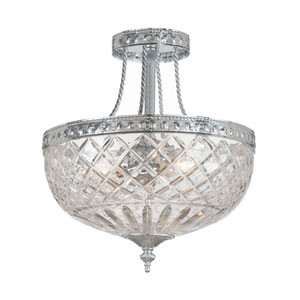 Bohemain Crystal Polished Chrome Three-Light Semi-Flush