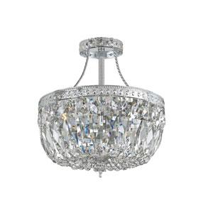 Traditional Polished Chrome Three-Light Swarovski Strass Semi Flush Crystal Basket